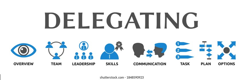 Delegating. Illustration banner with icons and keywords. Overview, Team, Leadership, Skills, Communication, Task, Plan, Options. Isolated on white background.