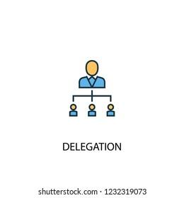 Delegation concept 2 colored line icon. Simple yellow and blue element illustration. Delegation concept outline symbol design from Project management set
