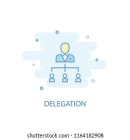 Delegation line trendy icon. Simple line, colored illustration. Delegation symbol flat design from Project Management set. Can be used for UI/UX