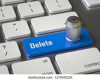 Delete key on the keyboard, 3d rendering,conceptual image.