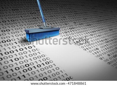 Deleting data technology concept as a broom wiping clean binary code as an internet security symbol or to delete an email and clean a hard drive server with 3D illustration elements.