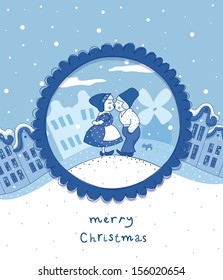 Delft blue Christmas card with two children
