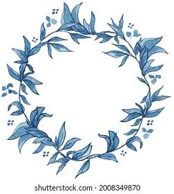 Delft Blue Floral Wreaths, Crest, Azulejos, China Blue, Wedding Frame