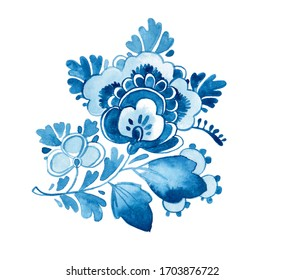 Delft Blue painted pattern texture