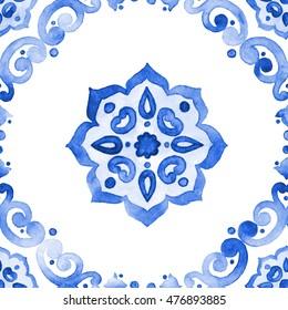 Delft blue style seamless pattern. Watercolor vintage filigree cobalt blue ornament for textile, fabric, wallpaper, tableware. Dutch motives boho surface design. Holland tile motives blue background.