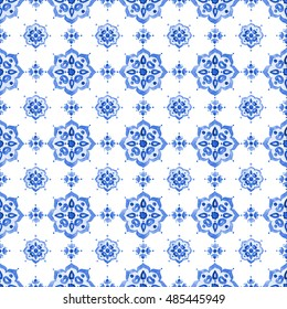 Delft blue style seamless pattern. Watercolor vintage filigree cobalt blue ornament for textile, fabric, wallpaper, tableware. Dutch motives boho surface design. Holland tile motives blue background.