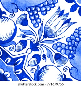 Delft blue style watercolor illustration. Traditional Dutch tile, floral motif with tulips, pomegranates, grape bunches, acorns and star shapes, cobalt on white background. Element for your design.