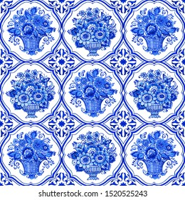 Delft blue style watercolor seamless pattern. Traditional Dutch tiles, bouquets of flowers in classic vases and baskets with elegant frame, cobalt on white background. Wallpaper, textile design.