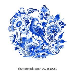 Delft blue style watercolour illustration. Traditional Dutch floral motif, paradise bird on a blossoming peony tree branch, cobalt on white background. Element for your design.