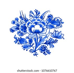 Delft blue style watercolour illustration. Traditional Dutch floral motif, peony flowers composition, cobalt on white background. Element for your design.