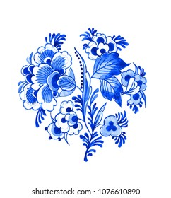 Delft blue style watercolour illustration. Traditional Dutch floral motif, branch of beautiful peony flowers, cobalt on white background. Element for your design.