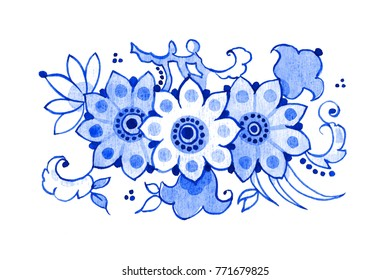 Delft blue style watercolour illustration. Traditional Dutch floral motif, blossoming tree branch, cobalt on white background. Element for your design.