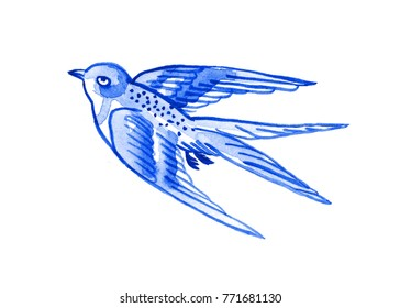 Delft blue style watercolour illustration. Traditional Dutch motif with a bird, a flying swallow, cobalt on white background. Element for your design.