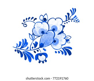 Delft blue style watercolour illustration. Traditional Dutch floral motif, flower and buds, cobalt on white background. Element for your design.
