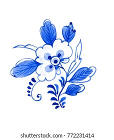 Delft blue style watercolour illustration. Traditional Dutch floral motif, cobalt on white background. Element for your design.