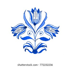 Delft blue style watercolour illustration. Traditional Dutch floral motif with tree tulips, cobalt on white background. Element for your design.