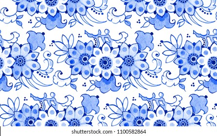 Delft blue style watercolour seamless pattern. Traditional Dutch floral tiled motif with magnolia flowers, cobalt on white background. Wallpaper. Textile print.