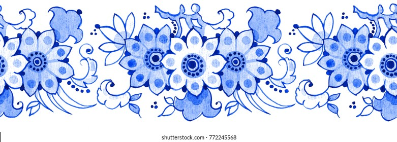 Delft blue style watercolour seamless border. Traditional Dutch floral motif, blossoming tree branch, cobalt on white background. Wallpaper. textile print.