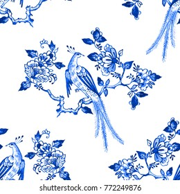 Delft blue style watercolour seamless pattern. Traditional Dutch floral motif, paradise bird on a blossoming tree branch, cobalt on white background. Wallpaper. Textile print.