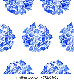 Delft blue style watercolour seamless pattern. Traditional Dutch floral motif, peony flowers in circular rosette pattern, cobalt on white background. Wallpaper. Textile print.