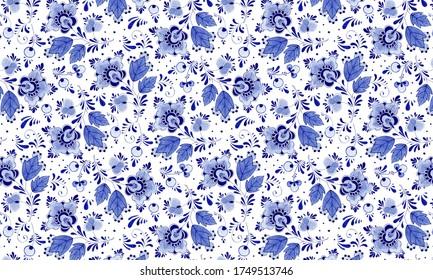 Delftware blue floral pattern background