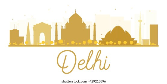 Delhi City skyline golden silhouette. Business travel concept. Cityscape with landmarks