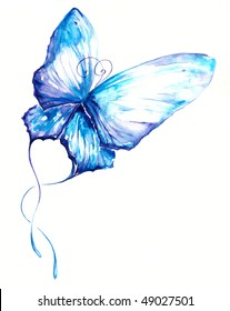 Delicate blue butterfly hand painted.Picture I have create myself with watercolors.