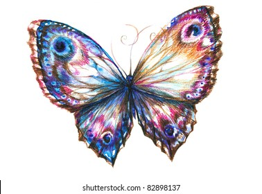 Delicate  butterfly hand painted isolated on white background.Picture I have create myself with watercolors and colored pencils.