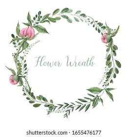 Delicate cute floral wreath of watercolor flowers. Ideal for wedding decor or greeting cards.