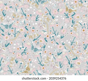 Delicate Daisies and Butterflies  half-drop repeat pattern.  Can be used for cards, wallpaper, fabric, textiles, wrapping paper, backgrounds etc.