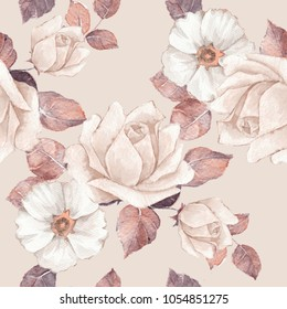 Delicate flowers. Watercolor floral seamless pattern. Pastel colors