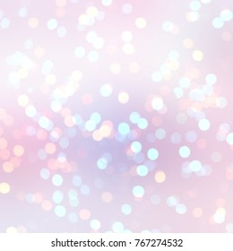 Delicate glitter on pastel pink background empty. Sparkler bokeh texture. Holiday abstract illustration. New year confetti decor. Christmas shimmer backdrop.