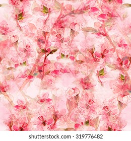 delicate Japanese cherry blossoms - digital and watercolor artwork - seamless pattern for textiles, fabrics, souvenirs, packaging and greeting cards