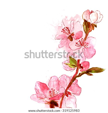 Delicate Japanese Cherry Blossoms Digital Watercolor
