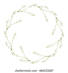 Delicate round floral element. Wreath of meadow wild flowers shepherd's purse. Pastel colors, isolated on white. Perfect design element, text frame, decor or vignette.