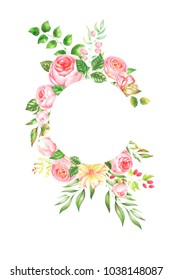 delicate watercolor frame of roses