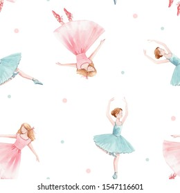 Delicate watercolor pattern with a ballerina in a pink and blue dress. Girl princess and polka dot pattern