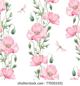Delicate watercolor pattern with colors of pink poppy, dragonfly, vertical Botanical pattern
