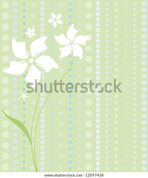 Delicate white flowers on a patterned background of pastel greens and blues