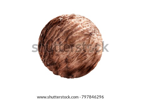 Delicious Chocolate Ice Cream Ball Beautiful Stock Illustration