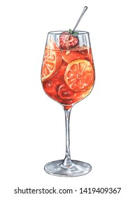Delicious cocktail - aprerol spritz with orange and strawberry slices. Illustraion isolated on white.
