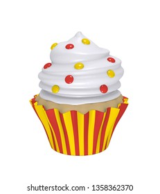 Delicious cupcake in red-yellow striped molds with cream topping and colorful smarties. 3d render