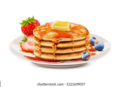 Delicious fluffy pancake with honey butter toppings and fresh fruit in 3d illustration, white background