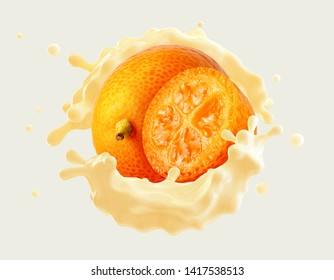 Delicious fresh kumquat fruit yogurt 3D splash wave with ripe kumquat and kumquat half. Label, banner advertising element with greek yogurt, cream, smoothie or milk, kumquats or kinkan. Clipping path