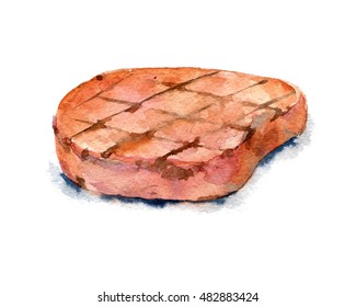 Delicious fried pork chop. Watercolor illustration on white background. Isolated.