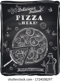 Delicious italian pizza here, graphic poster with the cut off slice of pizza, chalkboard background, rasterized version