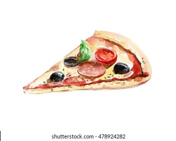 Delicious pizza with tomatoes, salami, olives and cheese. Watercolor illustration on white background. Isolated.