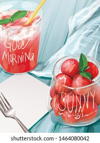 Delicious Strawberry juice and sliced placed on light blue table with folk and message