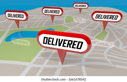 Delivered Map Pins Shipment Delivery Arrived 3d Illustration