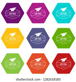 Delivery airplane icons 9 set coloful isolated on white for web
